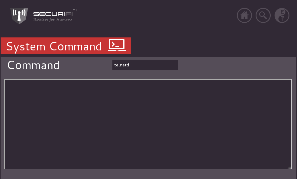 "Type ""telnetd"" in the command box"